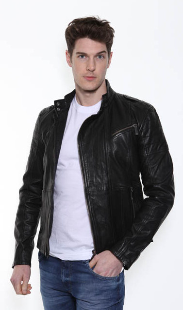 f639c29084a9 CK Black Leather Jacket ...