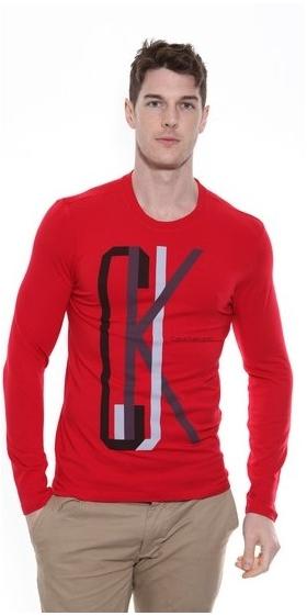 Calvin Klein CKJ Long Sleeve T Shirt Red