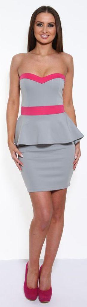 & Pink Peplum Dress