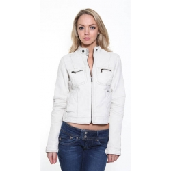 Ladies Cream Leather Jacket