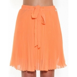Orange Pleated Skirt