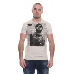 Beige Pepe Keyboard Print T-Shirt