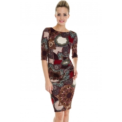 Paisley Print Work Wear Dress - Maroon