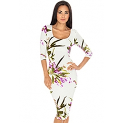 Floral White Midi Dress