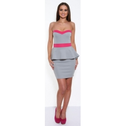 Grey & Pink Peplum Dress