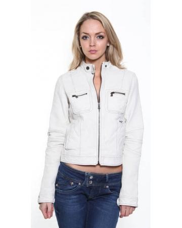 Ladies Cream Leather Jacket