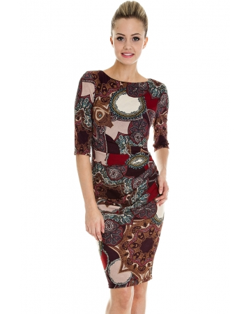 Paisley Print Work Wear Dress - Maroon